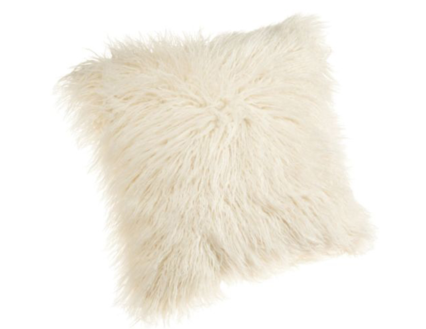 Mongolian White Fur Pillow 18""