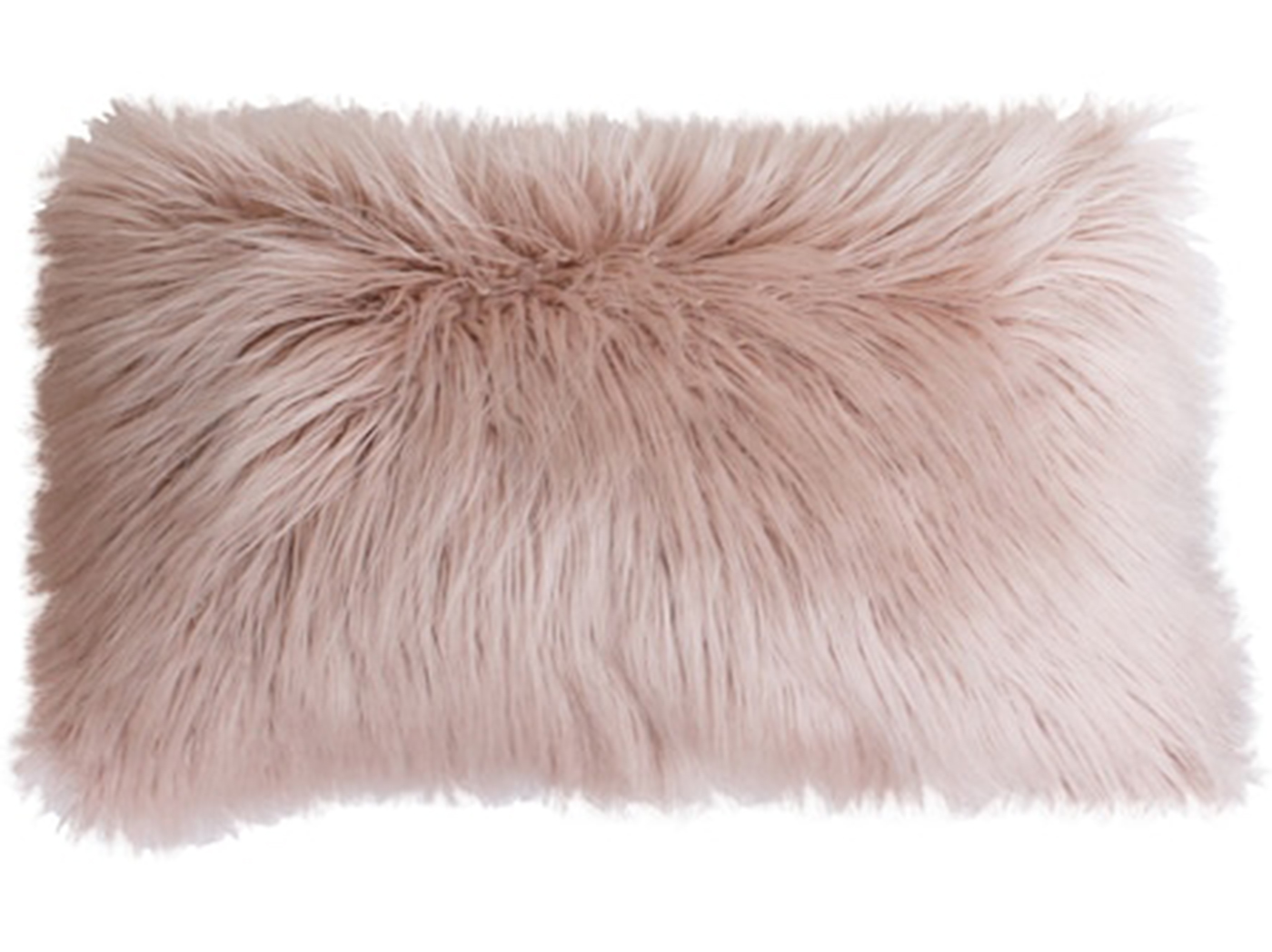 "Blush Mongolian Fur Pillow 24""W x 16""H"