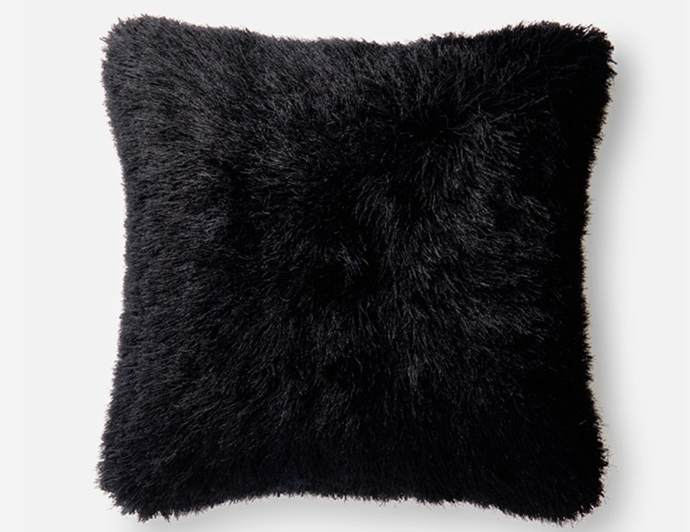 Black Fluffy Faux Fur Pillow