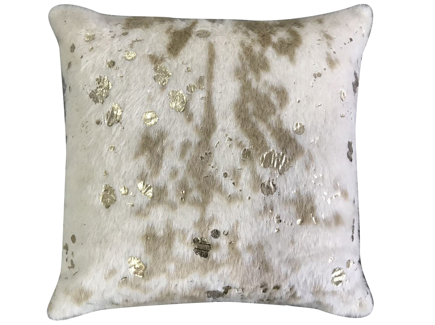 "Metallic Gold Faux Hide Pillow 20""W x 20""H"