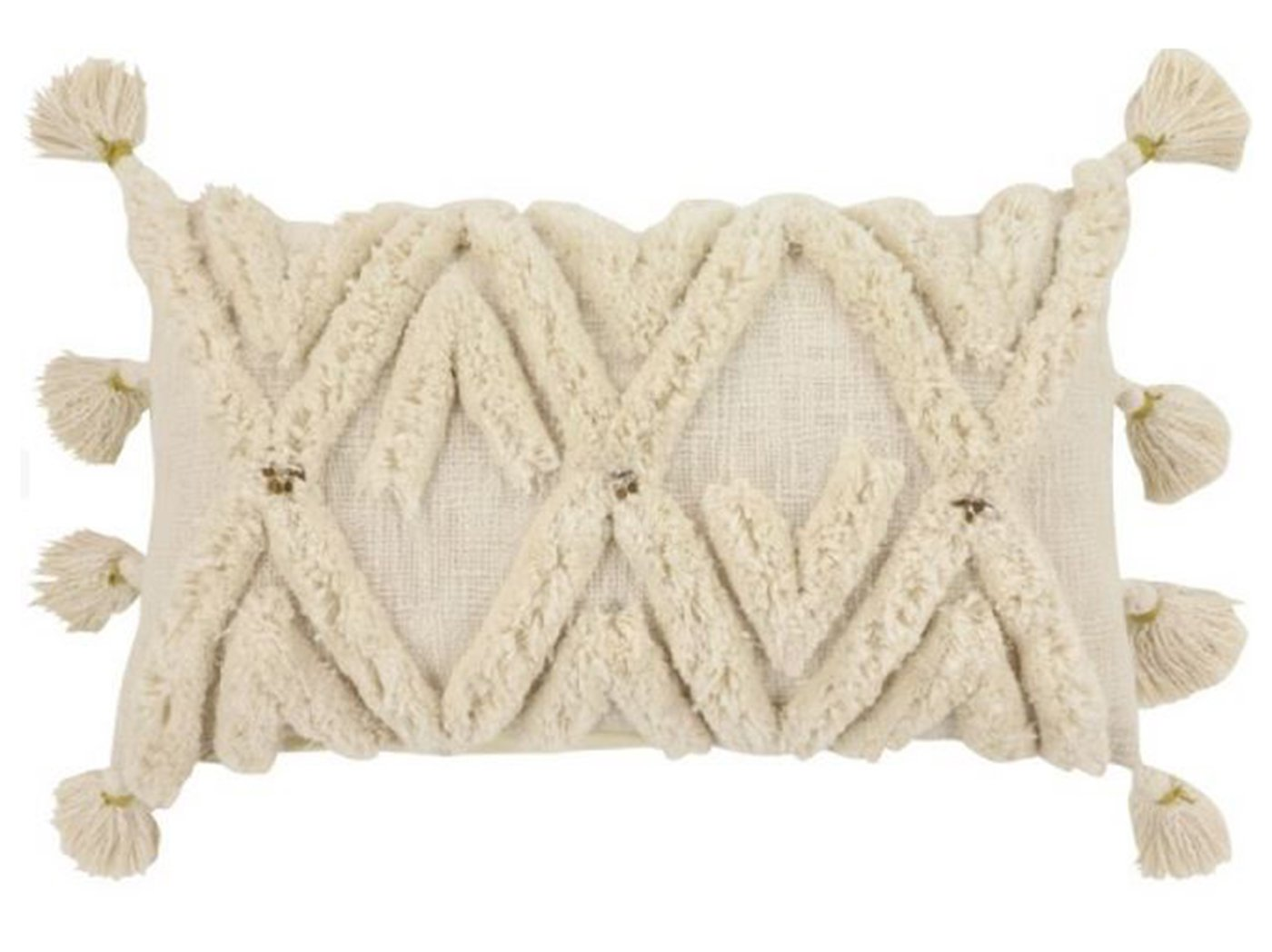 "Cream Fringe Cotton Pillow 24""W x 14""H"