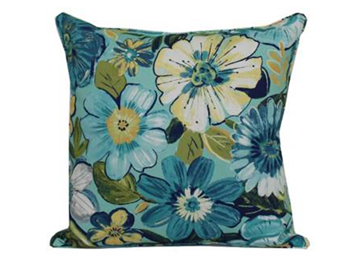 Robyn Point Aqua Floral Outdoor Pillow 17""