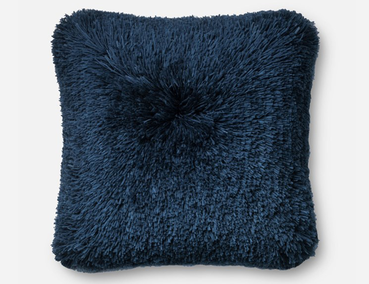 Navy Fluffy Faux Fur Pillow 22""
