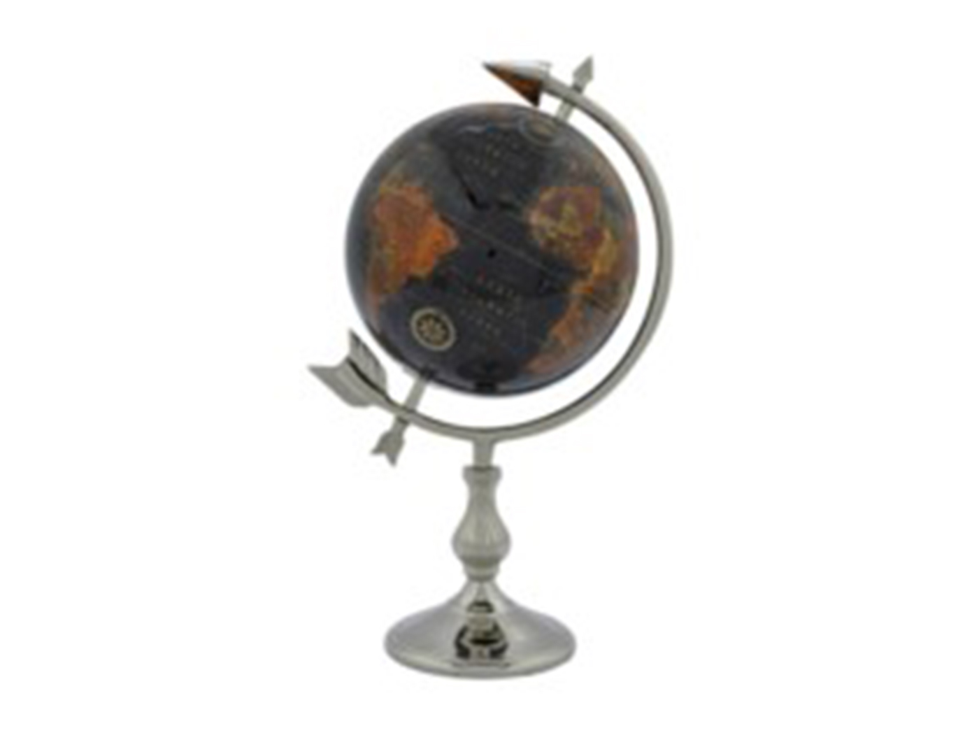 "Black and Silver Globe on Stand 8""W x 17""H"