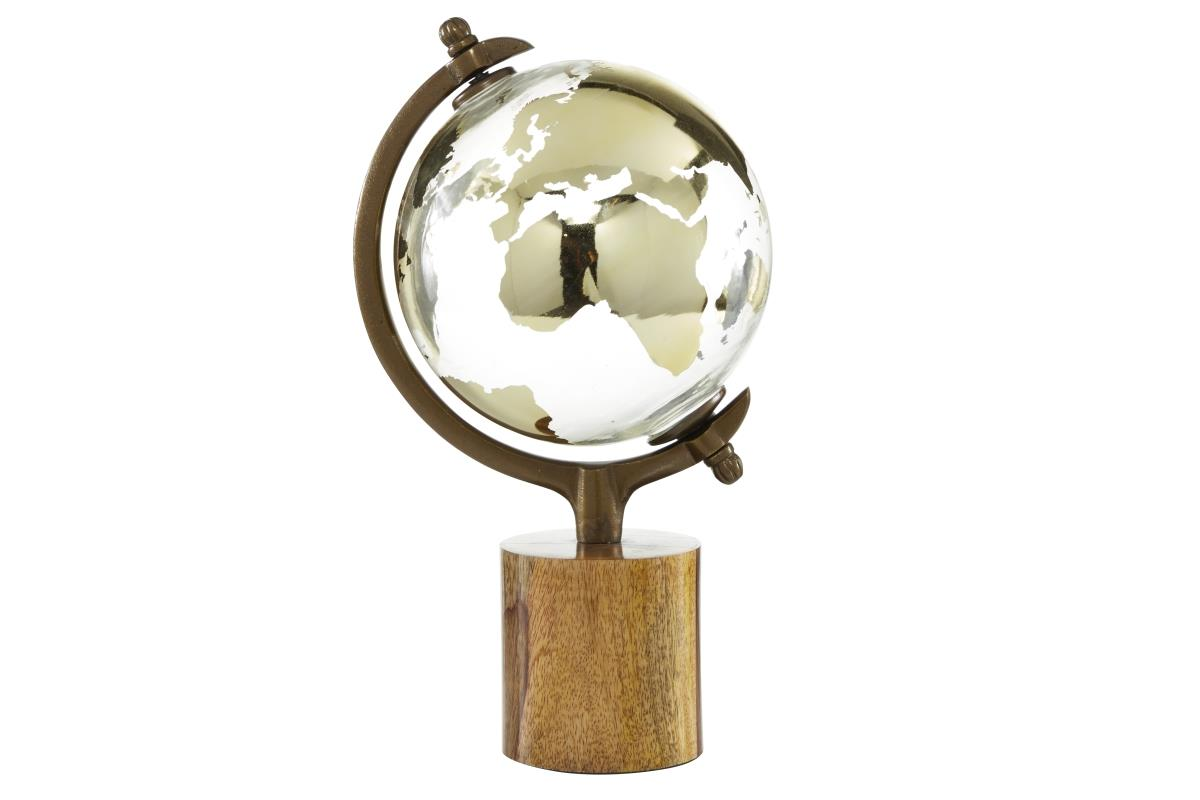"Glass and Wood Globe 15""H"