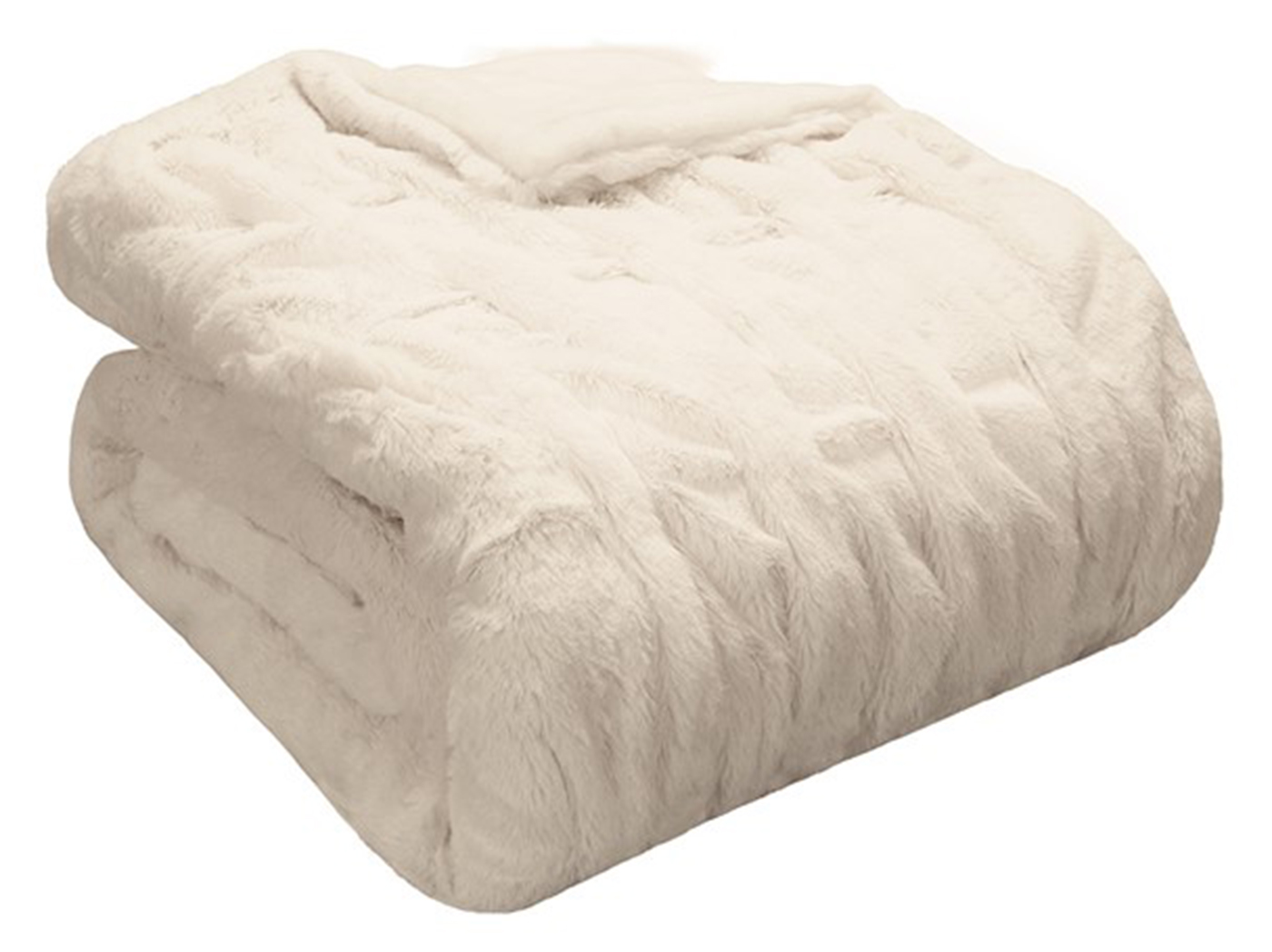 "Ivory Oversized Faux Fur Throw 50""W x 70""L"