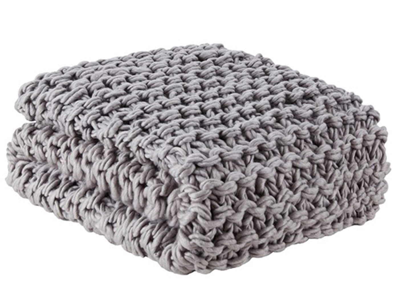 "Grey Cable Knit Throw 50""W x 60""H"