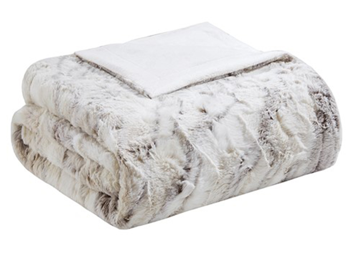 "Natural Oversized Faux Fur Throw 60""W x 70""L"