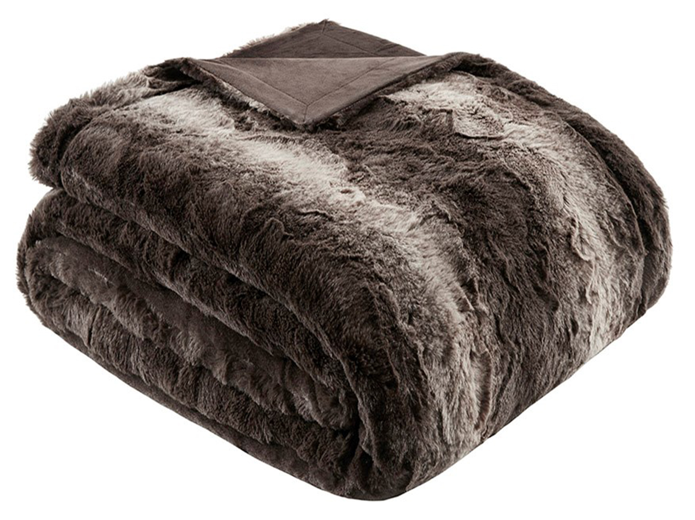 "Brown Oversized Faux Fur Throw 60""W x 70""L"