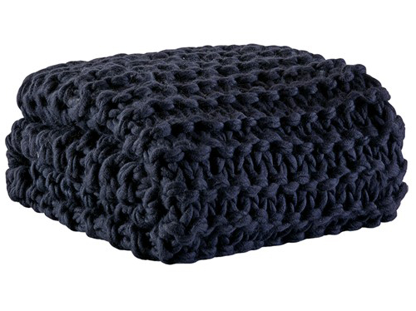 "Navy Cable Knit Throw 50""W x 60""H"