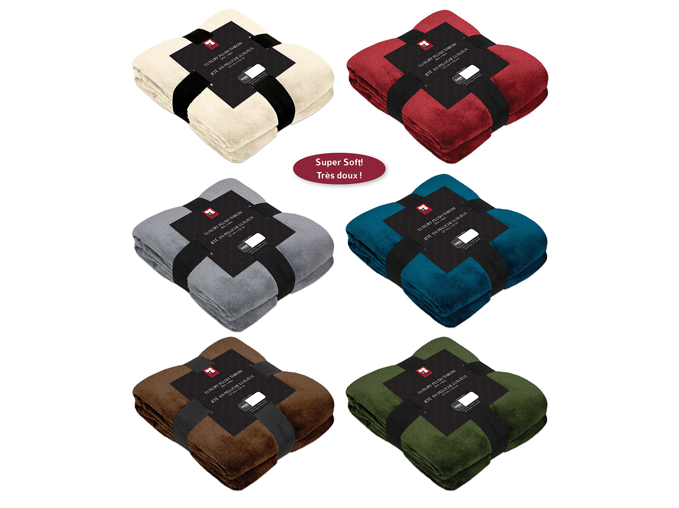 "Assorted Luxury Plusht Throw -Each- 50""W x 60""L"