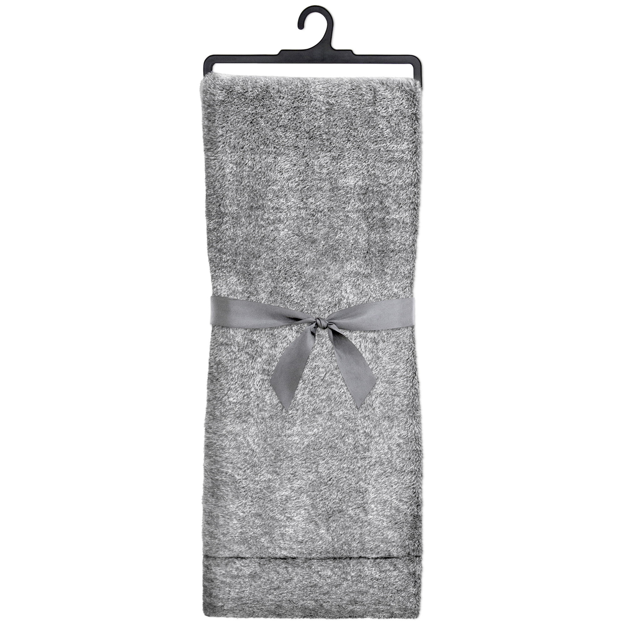 "Grey Faux Fur Throw 48""X60"""