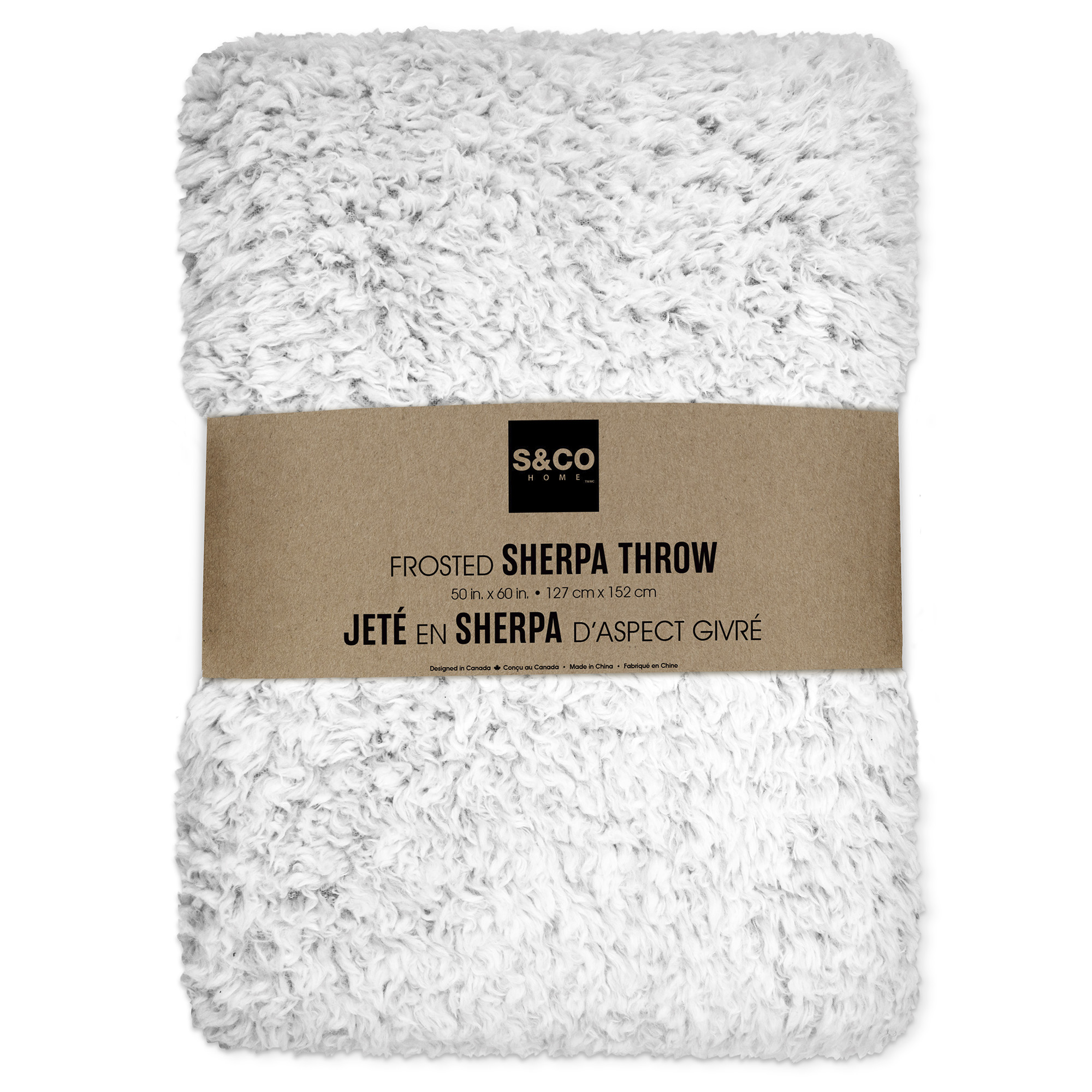 "White Sherpa Throw 50""X60"""