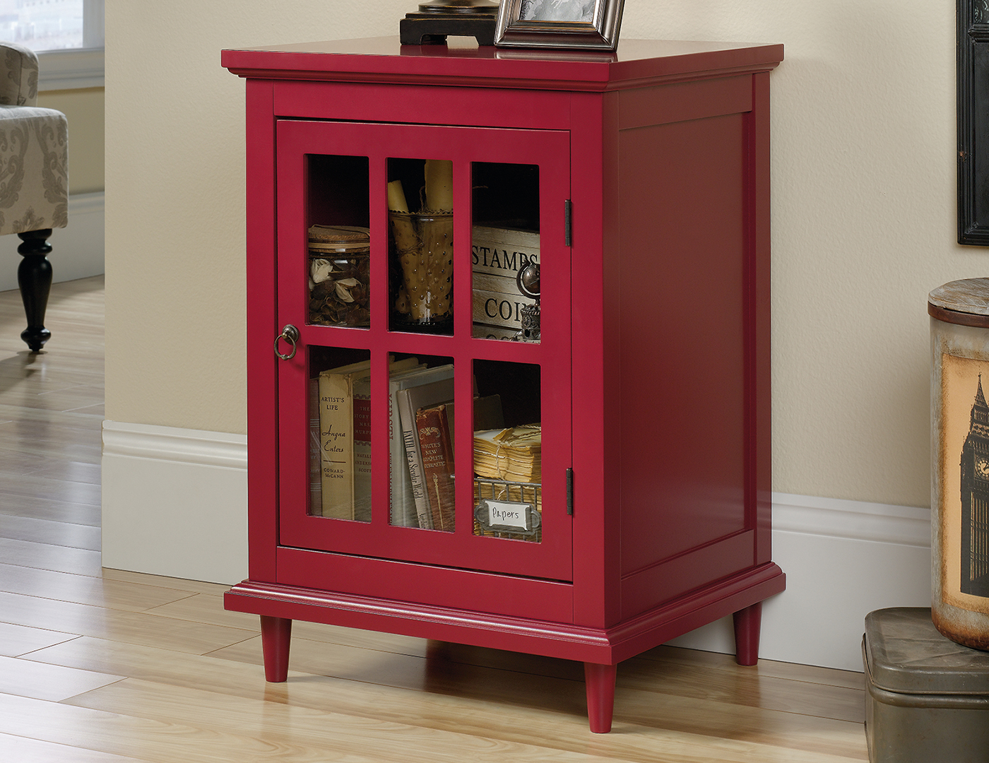 Berry Red Chairside Cabinet