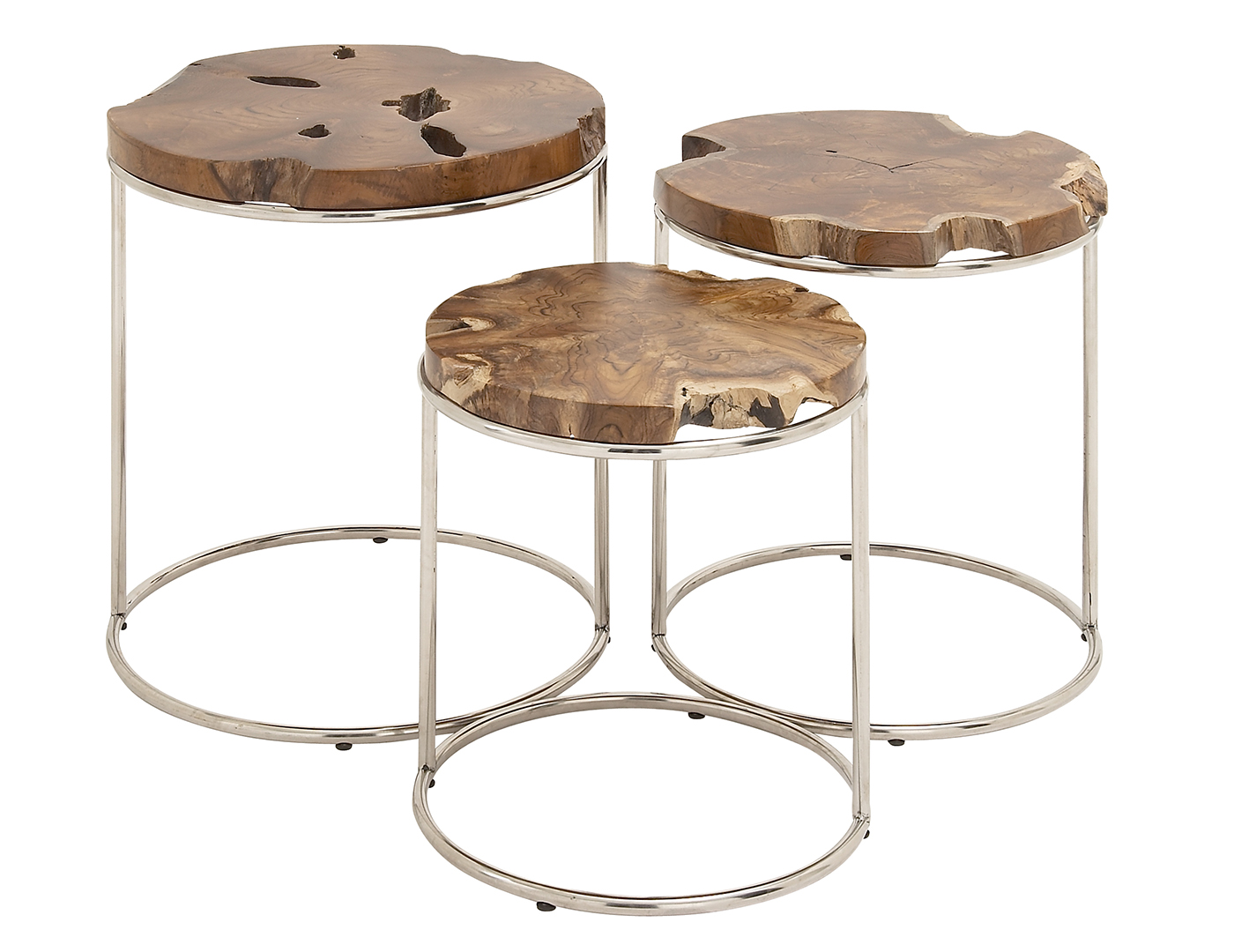 Teak and Metal Round Table Set