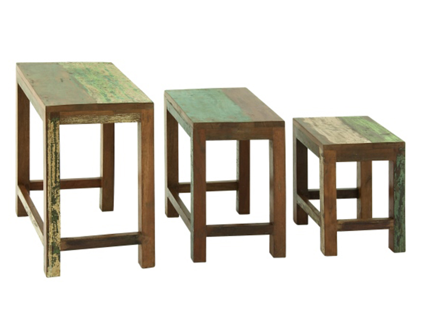 Rustic Wood Nesting Tables Set