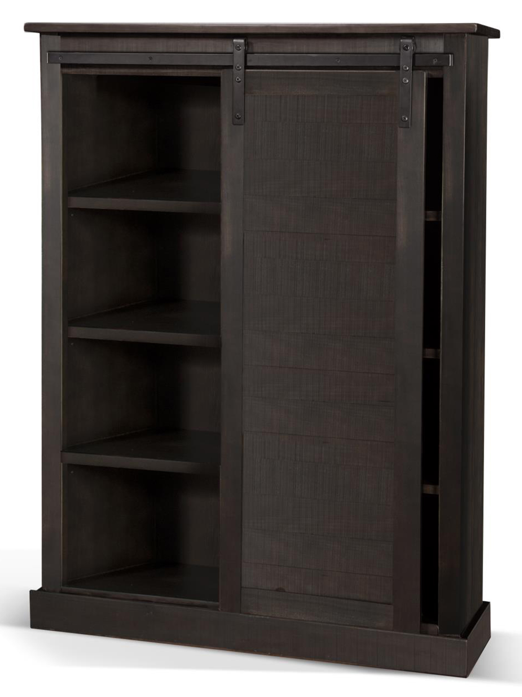 Charred Oak Barndoor Bookcase