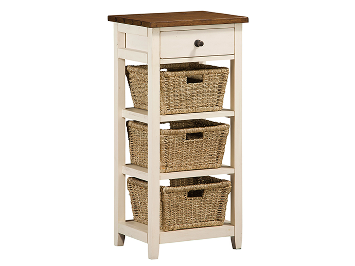 Tuscan Retreat White & Pine 3 Basket Stand