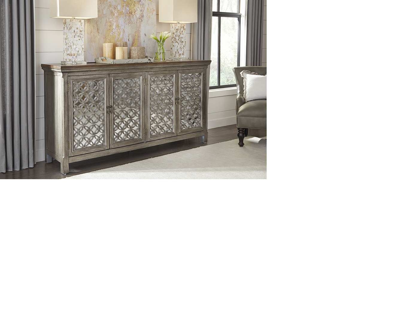 Eclectic Living Grey 4 Door Cabinet