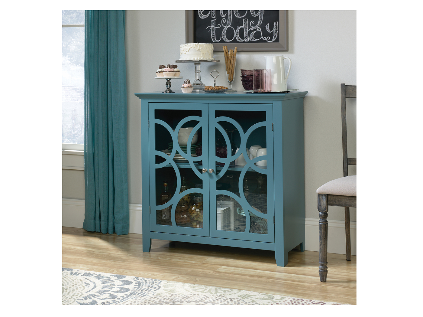 furniture display blue product accent bl cabinet caravana finish on