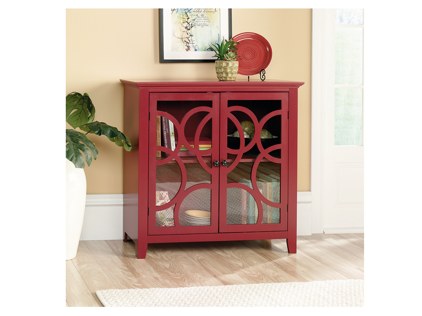 Plum Red Accent Cabinet