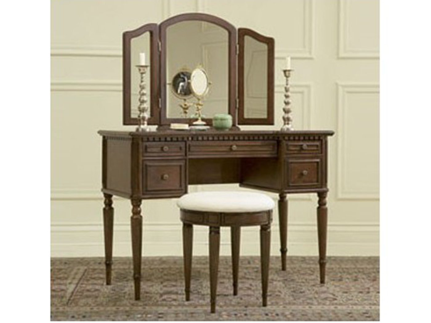 Warm Cherry Vanity and Bench
