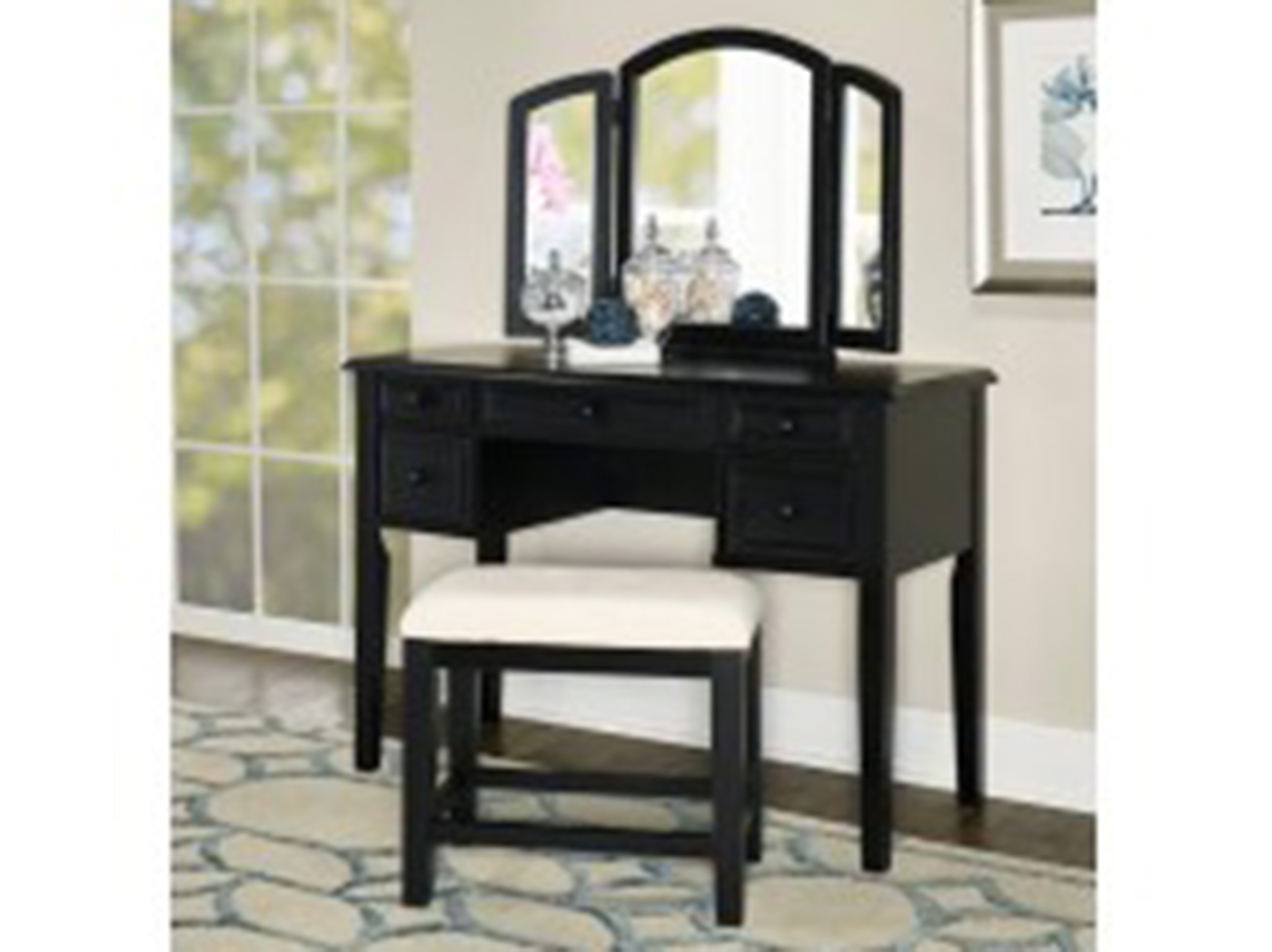 Antique Black Vanity and Bench