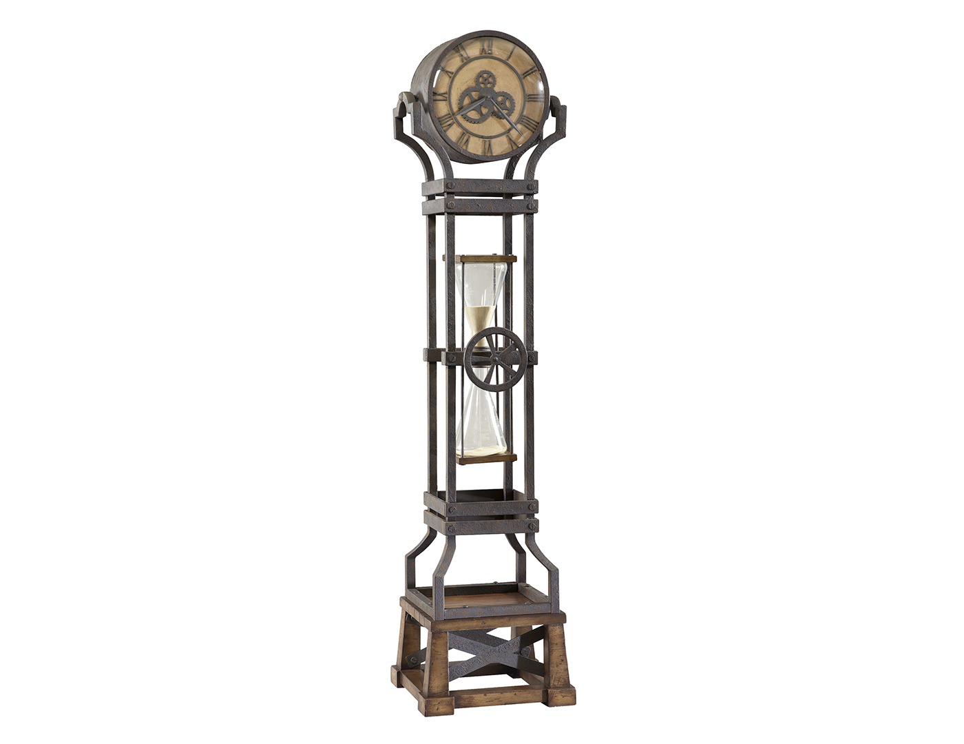 Aged Iron Hourglass Floor Clock
