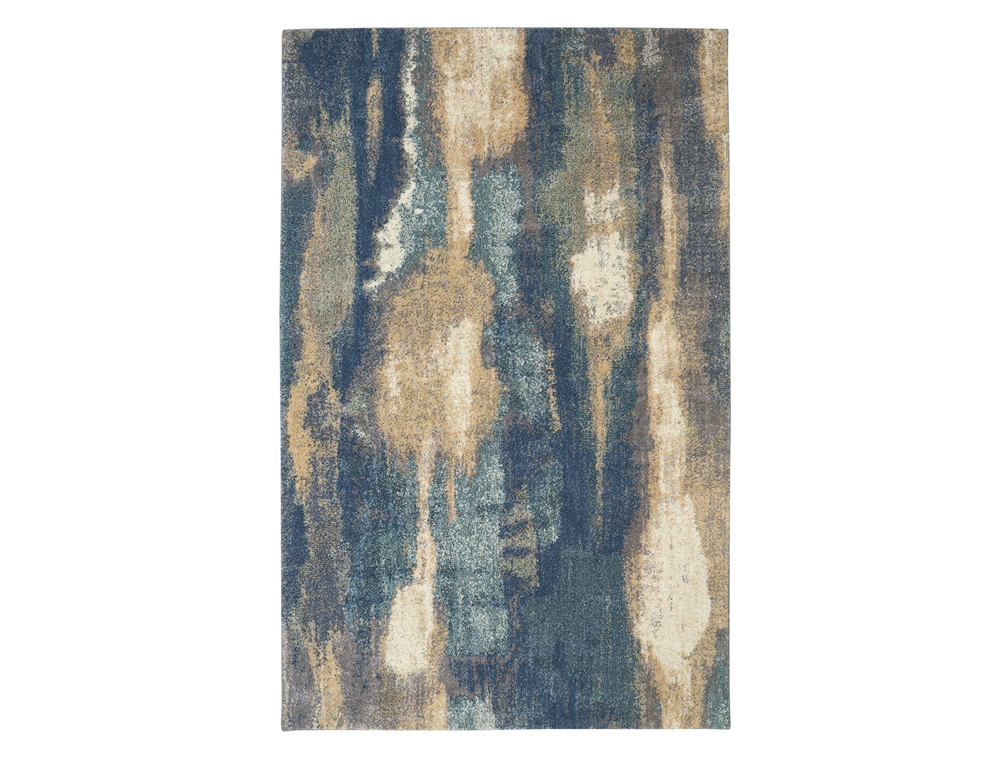 Blue and Tan Abstract Area Rug