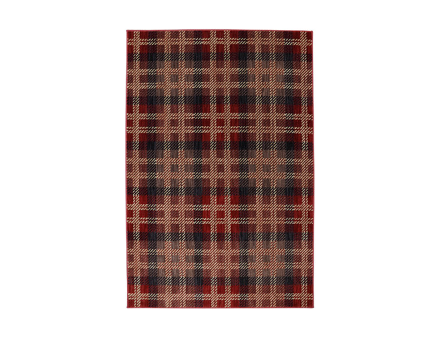 Red, Blue and Tan Plaid Area Rug