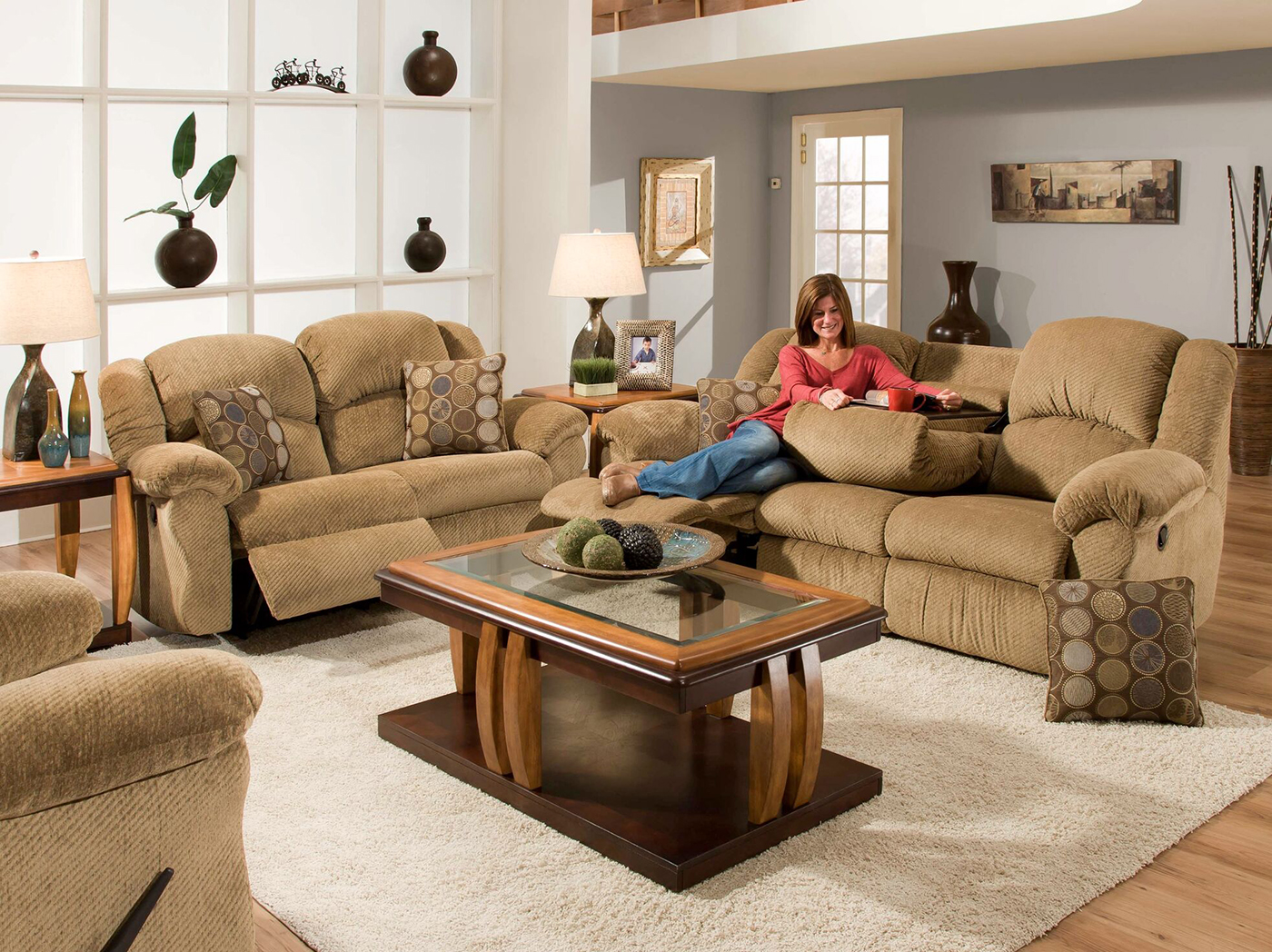 Caleb Recline Sofa And Rocker Loveseat Set