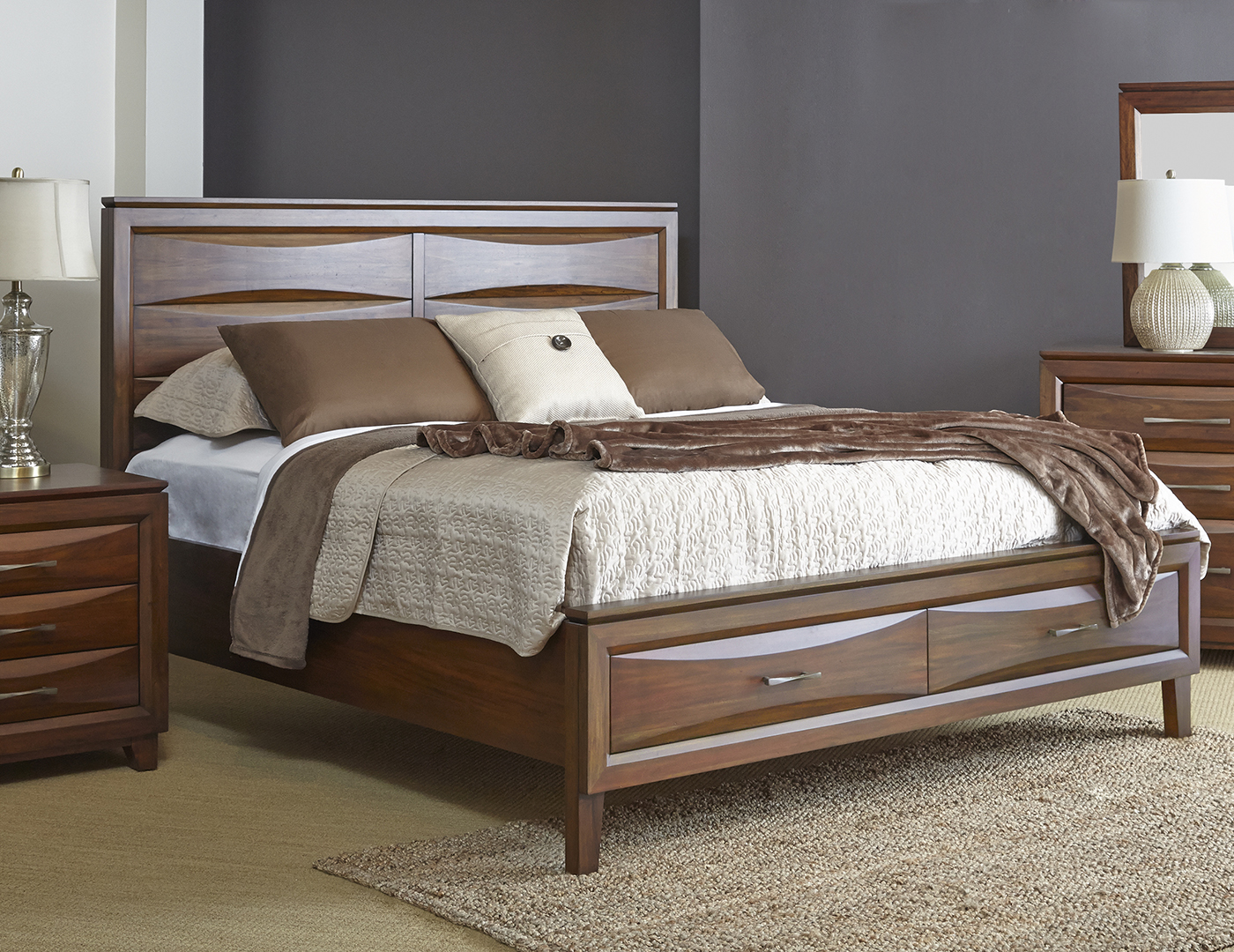 Riviera Queen Storage Panel Bed