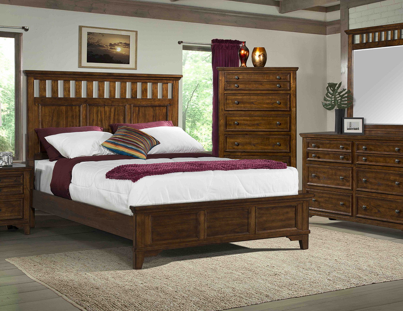 Woodlands Queen Panel Bed