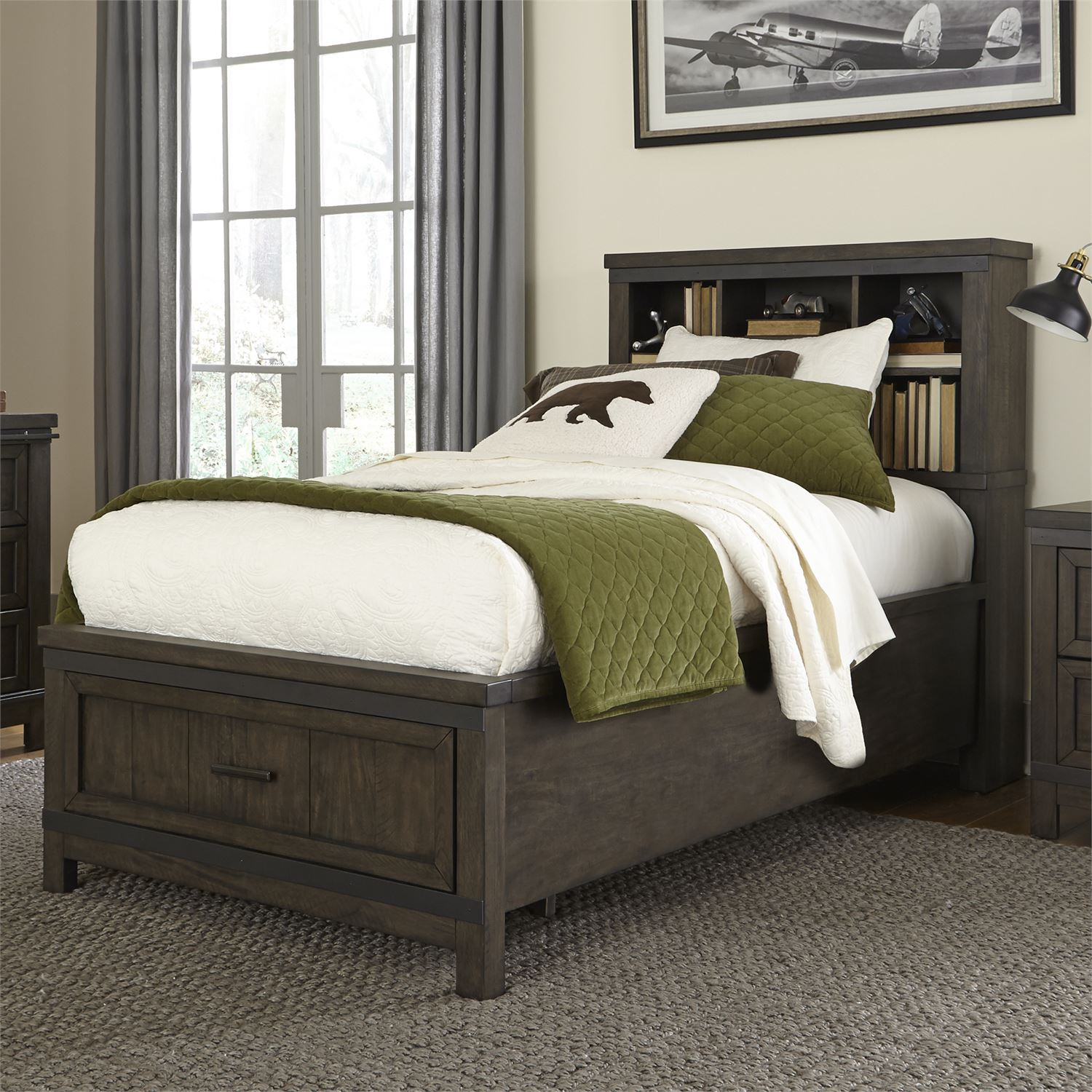 Thornwood Full Bookcase Storage Bed