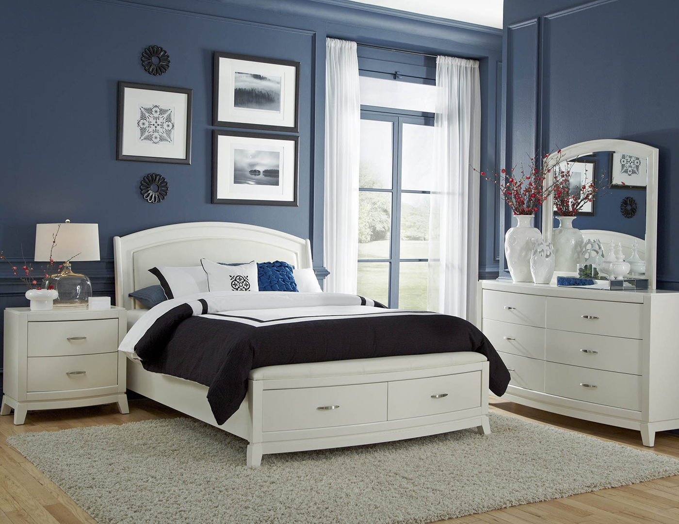Brennan White King Storage Bed