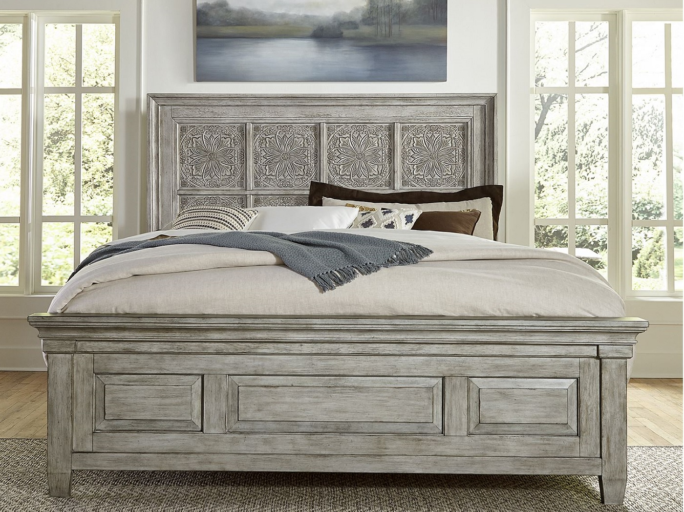 Camellia King Decorative Panel Bed