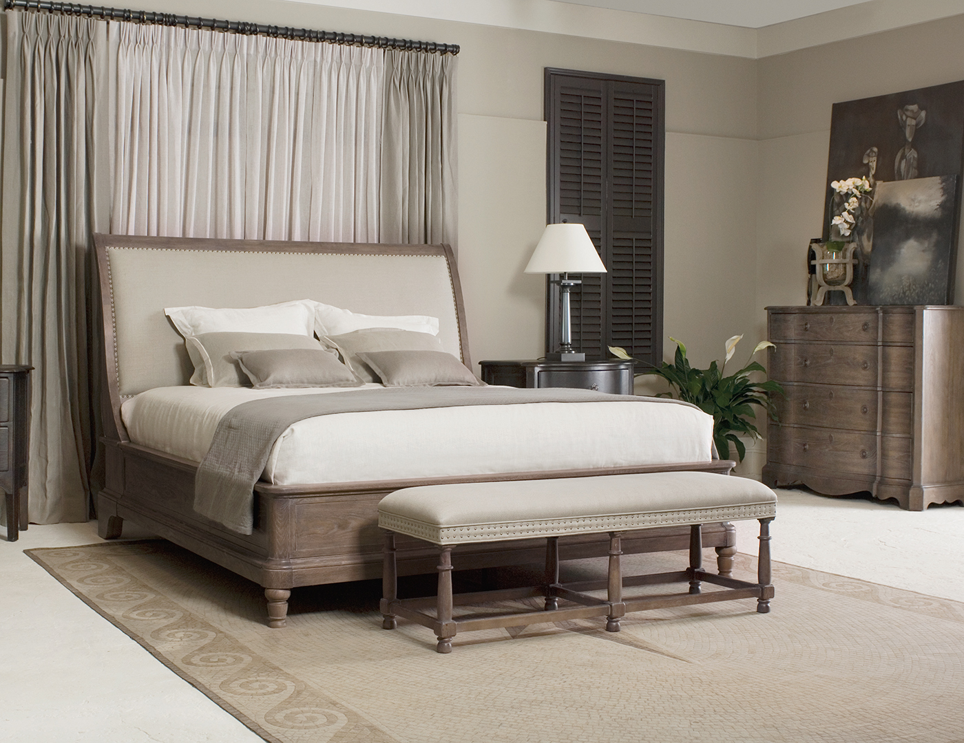 Belgian Oak King Upholstered Bed