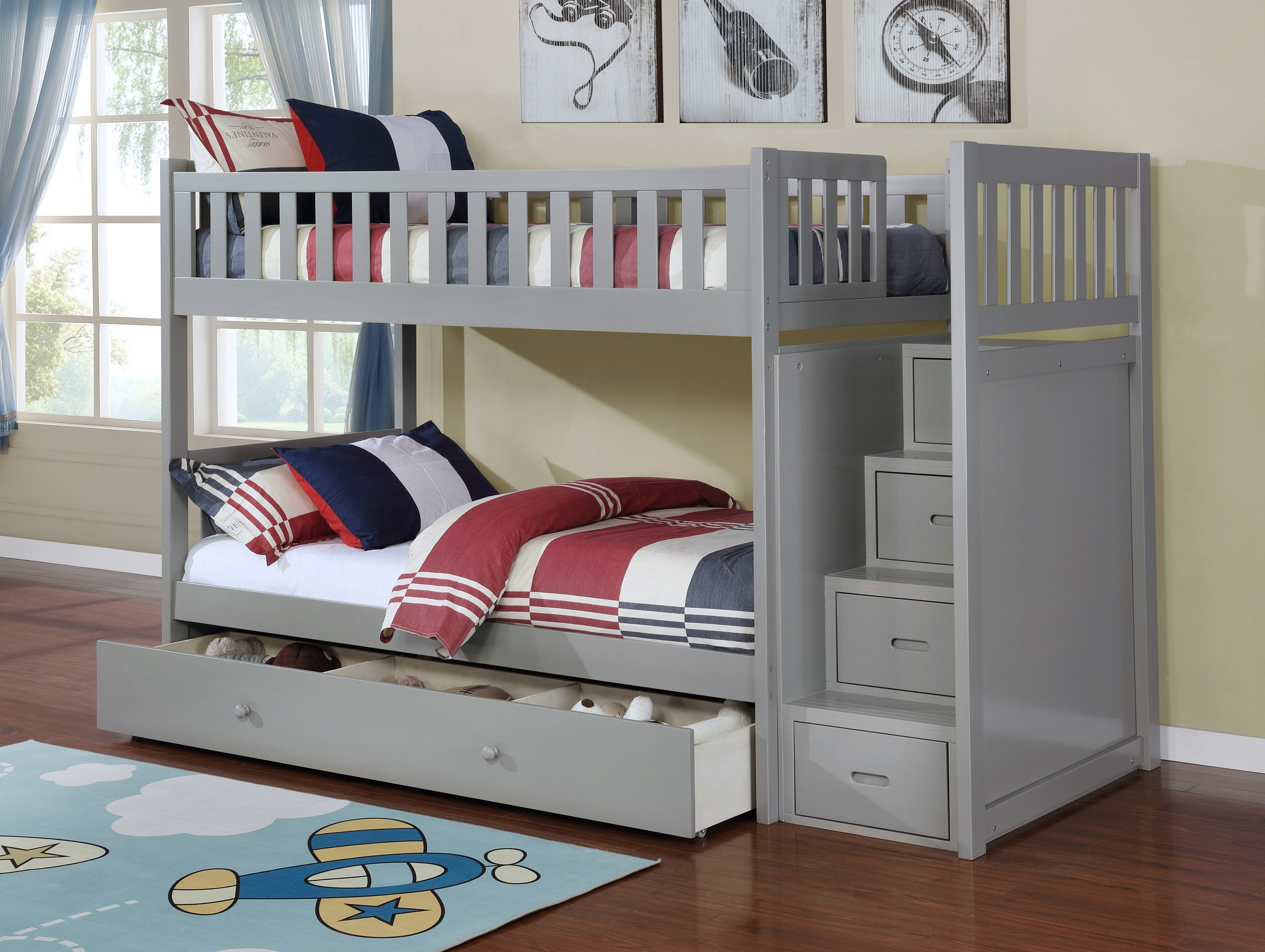Grey Twin Over Twin Bunk Bed with Ladder Chest
