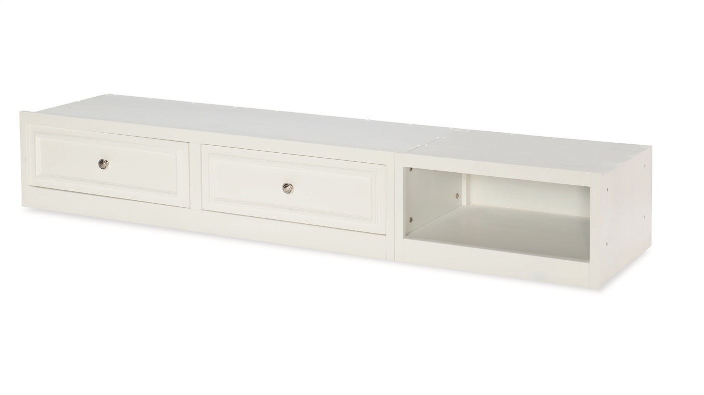 Canterbury White Underbed Storage (Two Drawers & Cubby)