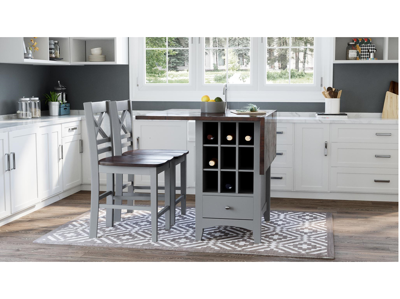 Asbury Park 3pc Set With X-Back Counter Stool