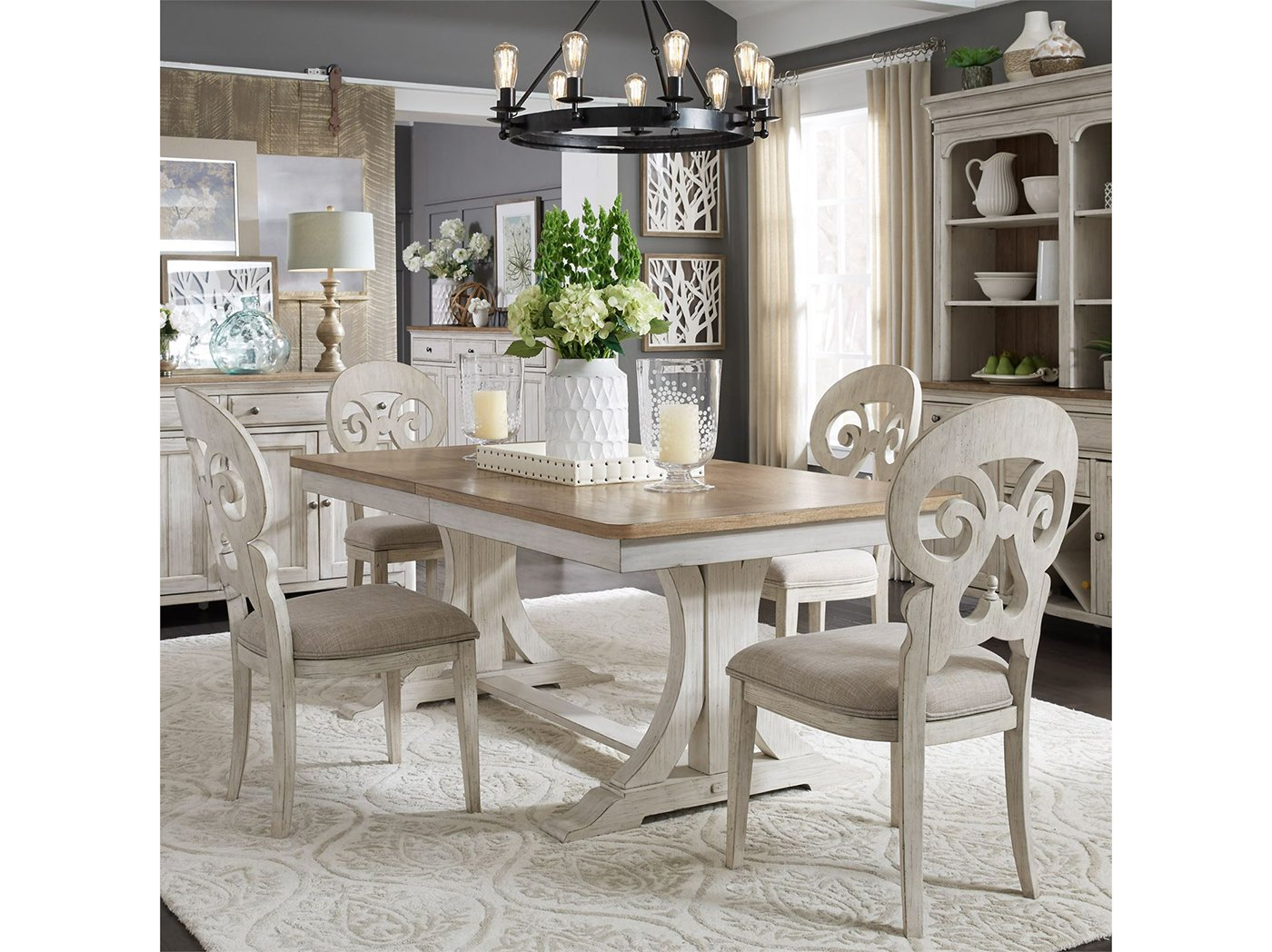 Farmhouse Reimagined 5-Piece Set with Splat Back Upholstered Side Chair