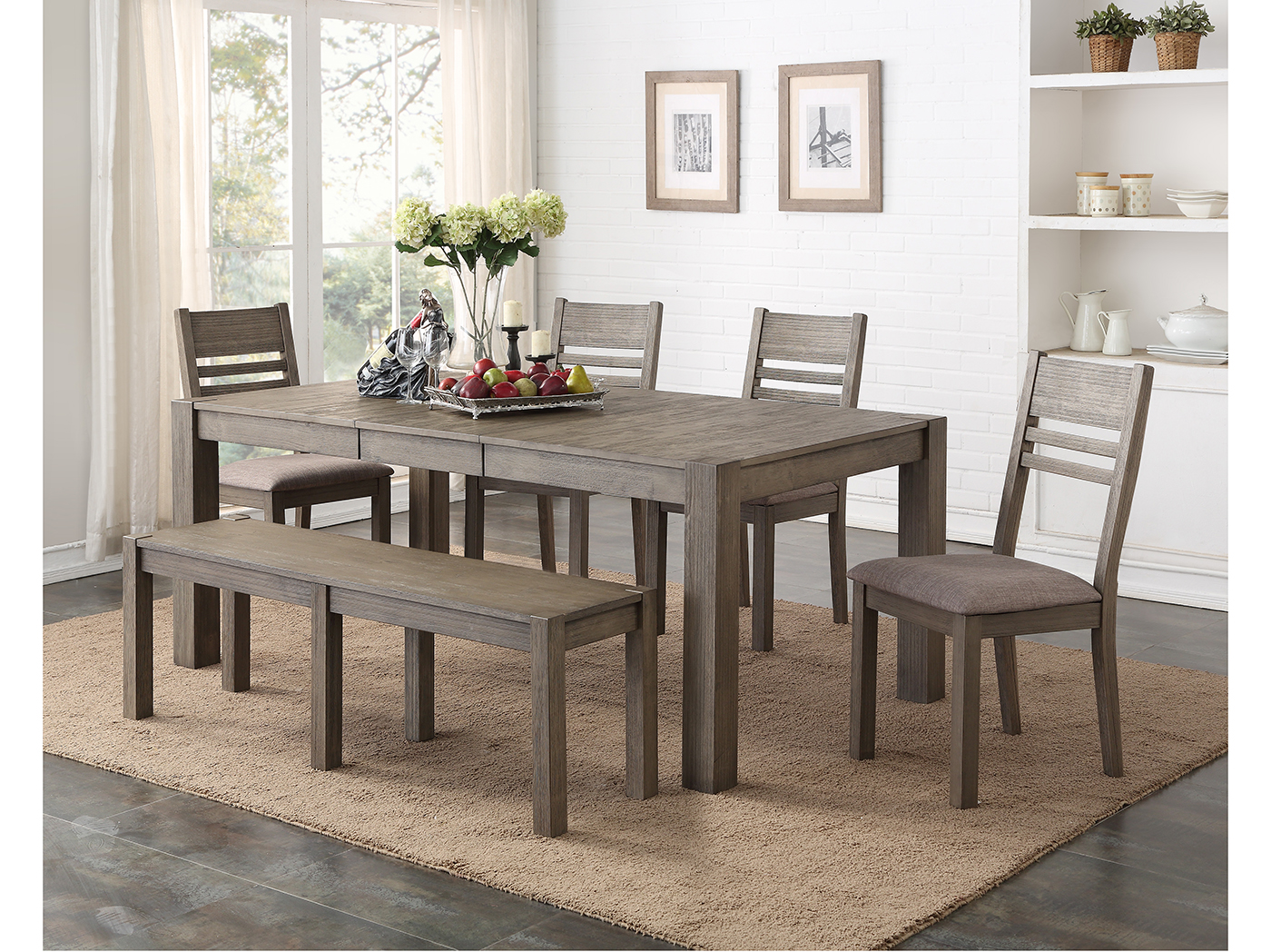 Hillcrest 6 PC Dining Set (Table + 4SC + Bench)