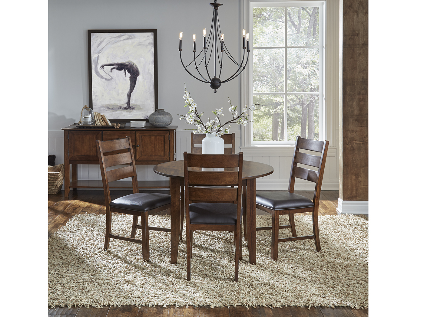 Mason 5-pc Dining Set W/Ladderback Chair