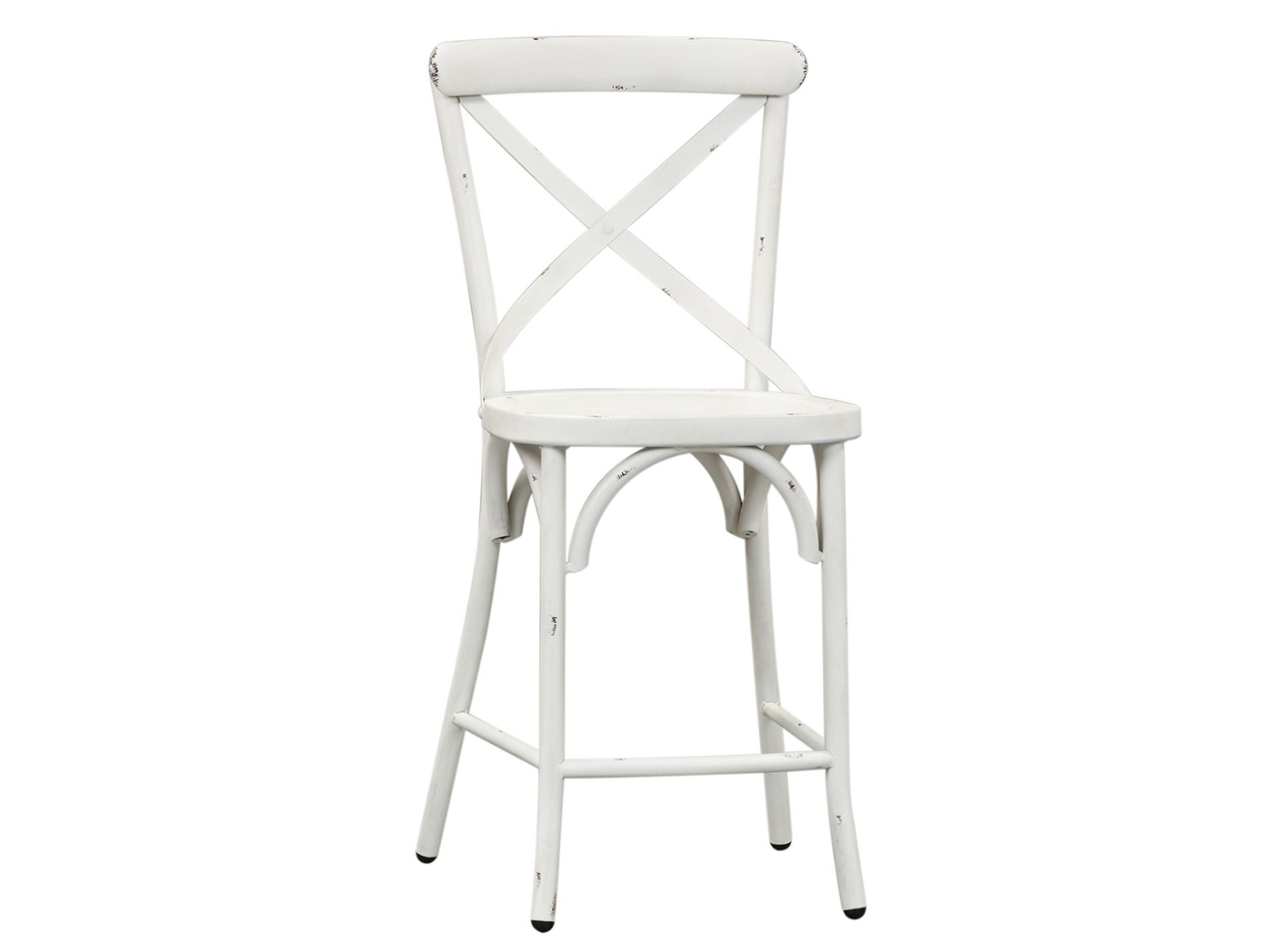 Antique White X-Back Counter Stool