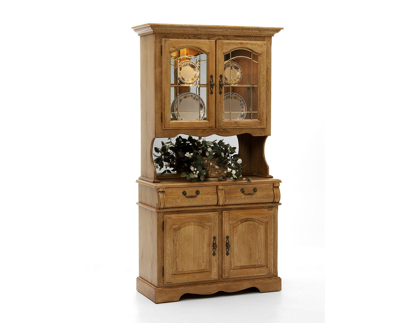 Round Oak Small Buffet & Hutch