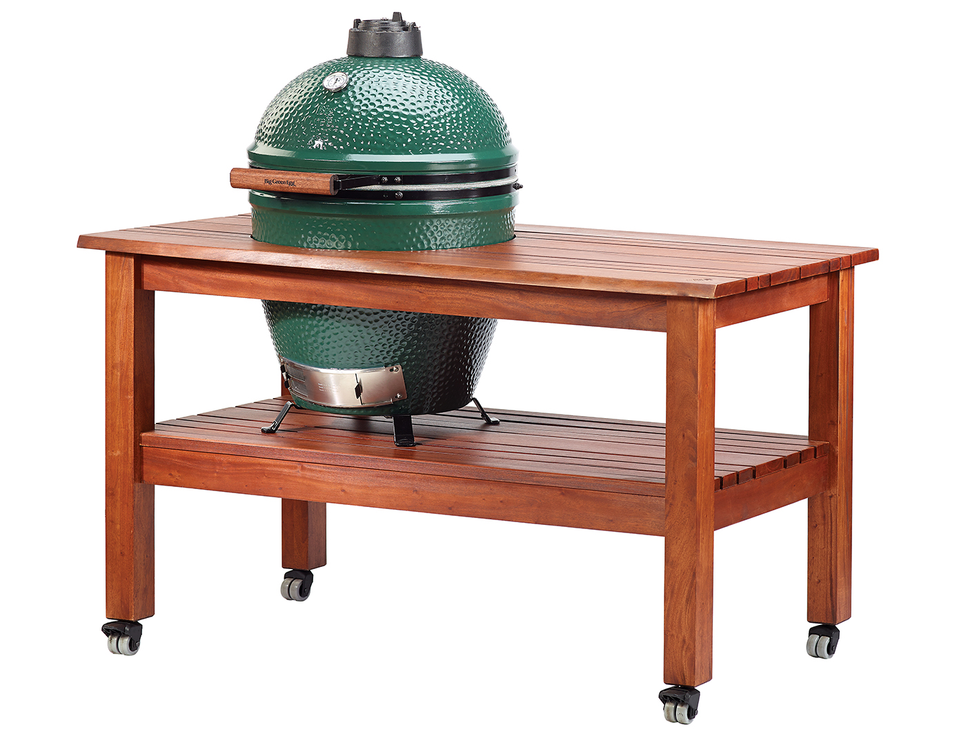 Big Green Egg Large Mahogany Table with Nest and Casters