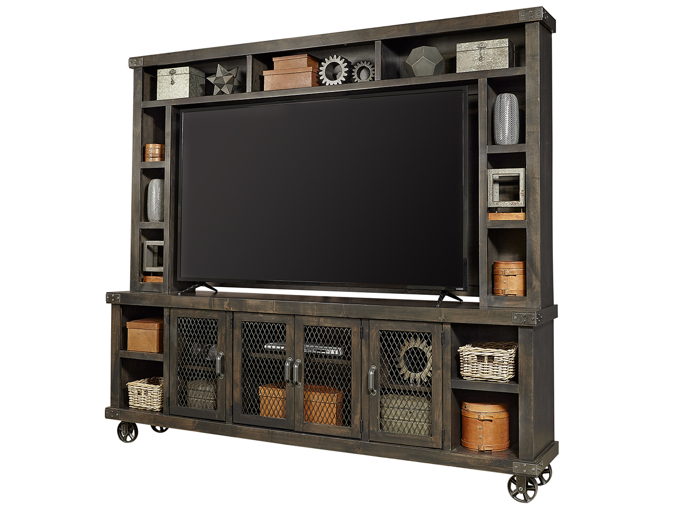 "Industrial Ghost Black 84"" Console & Hutch"