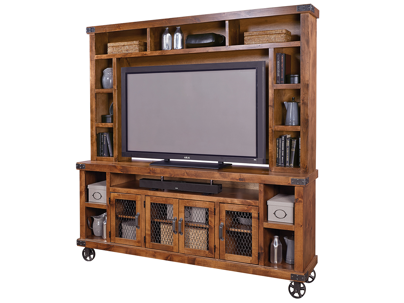 "Industrial Fruitwood 84"" Console & Hutch"