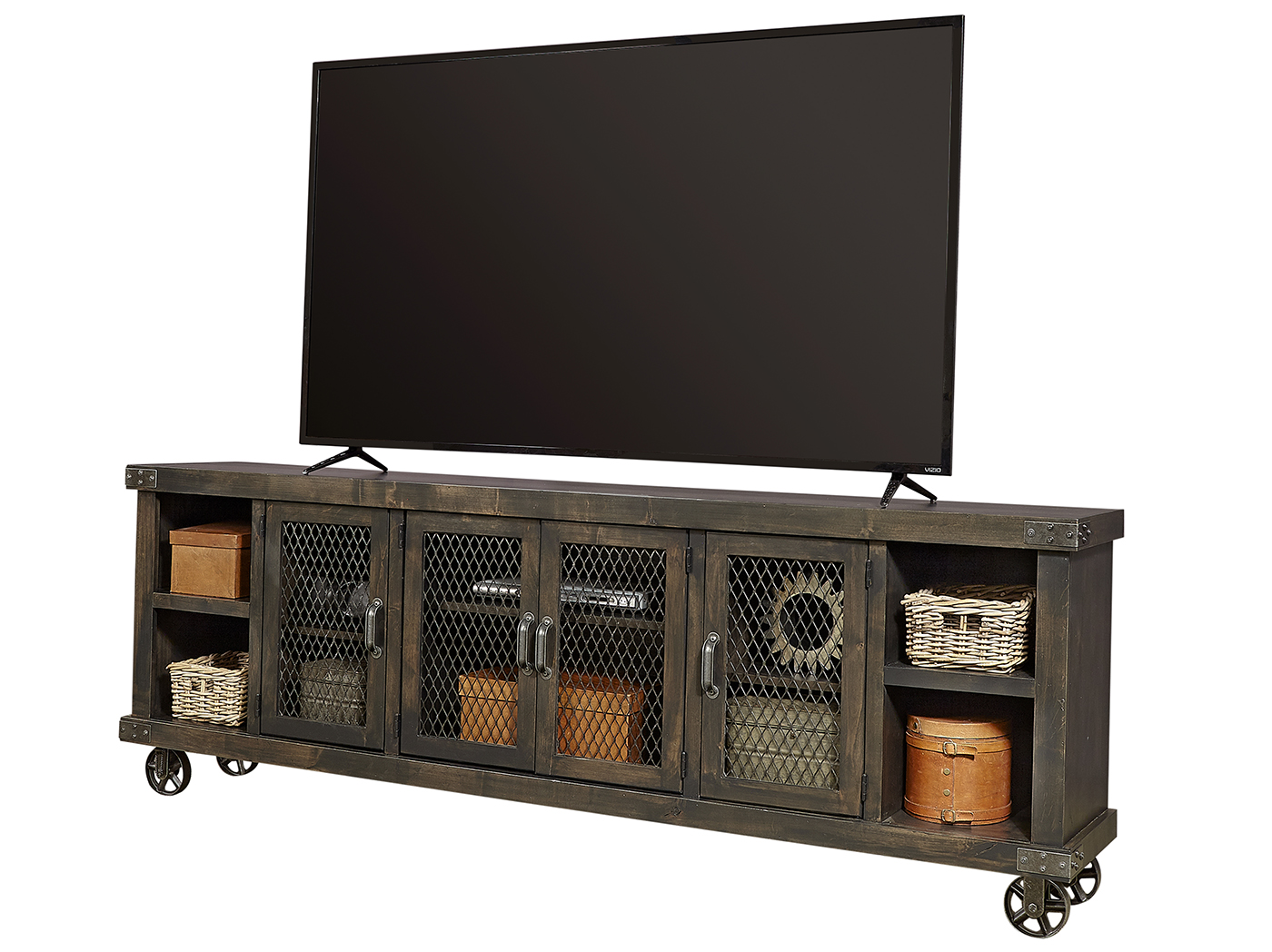 "Industrial Ghost Black 84"" Entertainment Console"