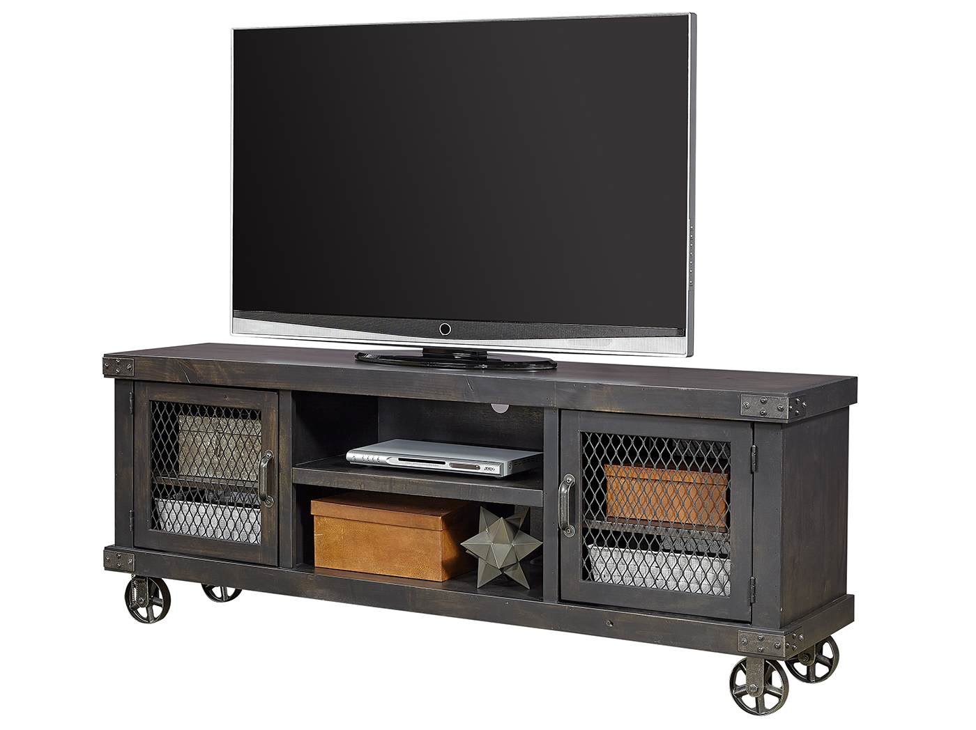 "Industrial Ghost Black 74"" Entertainment Console"